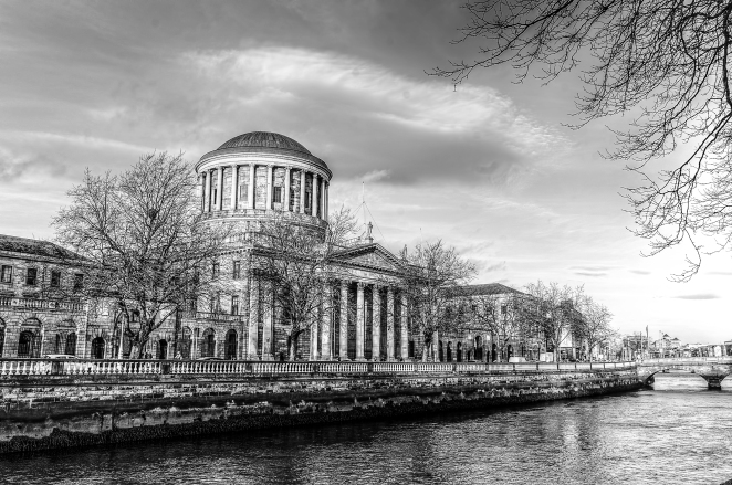 Four Courts on the Liffey Black & White