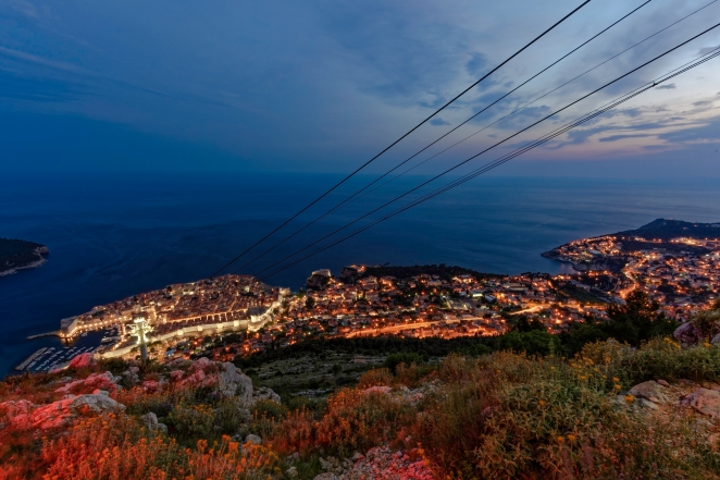 Part of my Dubrovnik Collection of photographs that can be seen at http://tinyurl.com/obcg5jn, here you can purchase prints or digital downloads. You can follow me on Facebook at http://tinyurl.com/bpmne4a Looking down at Dubrovnik from Srd Hill in Dubrovnik, Croatia. The lines running down the hill are from the cable car that takes passengers from the bottom to the top.  This is a Long Exposure shot taken with a Nikon D810 camera using a Nikkor 16-35mm f/4 wide angle lens. The shot was edited using DXO Pro Optics 10, Adobe Lightroom 5 and Topaz Labs DeNoise 5. Thanks for looking! Nikon D810, Nikkor 16-35mm, ISO 100, 16mm, f/14, 15secs
