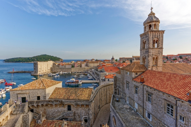 Part of my Dubrovnik Collection of photographs that can be seen at http://tinyurl.com/obcg5jn, here you can purchase prints or digital downloads. You can follow me on Facebook at http://tinyurl.com/bpmne4a Looking from the city walls of Old Town towards the harbour of Dubrovnik, Croatia. In this photo you can see the rectangular structure of Fort St. John at the edge of the harbour, you can also see the dome of the Cathedral of the Assumption of the Virgin - Velika Gospa. This shot was taken with a Nikon D810 camera using a Nikkor 16-35mm f/4 wide angle lens. The shot was edited using DXO Pro Optics 10, Adobe Lightroom 5 and Topaz Labs DeNoise 5. Thanks for looking! Nikon D810, Nikkor 16-35mm, ISO 100, 16mm, f/14, 1/50sec