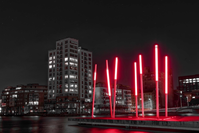 A shot of Grand Canal Dock in Dublin, Ireland. The piece of art at the dock always reminds me of Darth Vaders Lightsaber! The shot was taken with a Nikon D810 camera using a Nikkor 16-35mm f/4 lens. I edited the photo using DXO Pro Optics 10, Adobe Lightroom 5 (to reduce the levels of all colours except red) and then reduced the noise levels using Topaz Labs DeNoise 5. Thanks for looking!